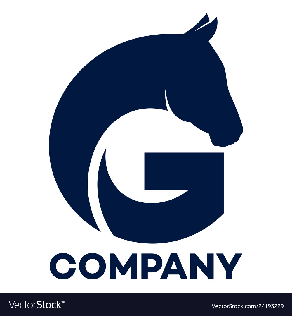 Horse And G Company Linked Letter Logo Royalty Free Vector