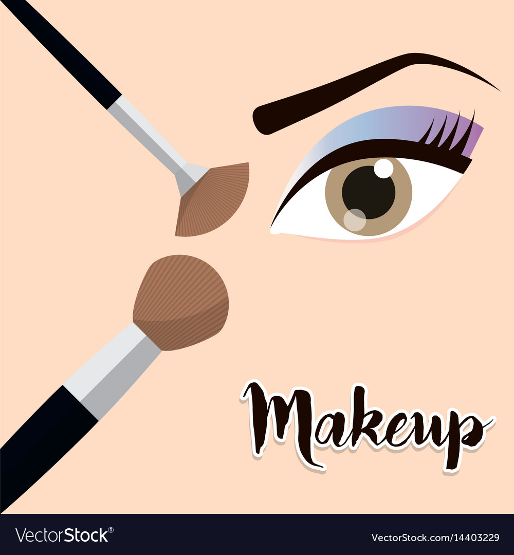 Makeup eye girl brush design vector image