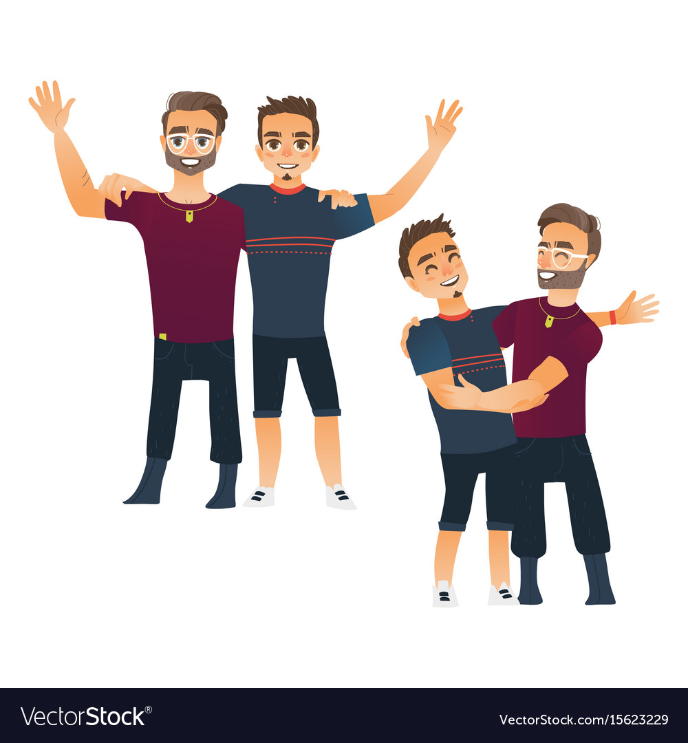 Male friendship concept two couple of boys men vector image