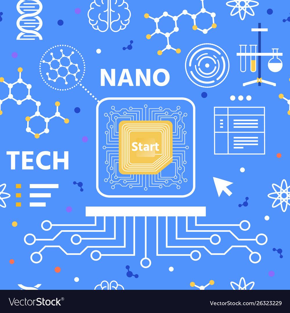 Nano technology flat cartoon seamless pattern