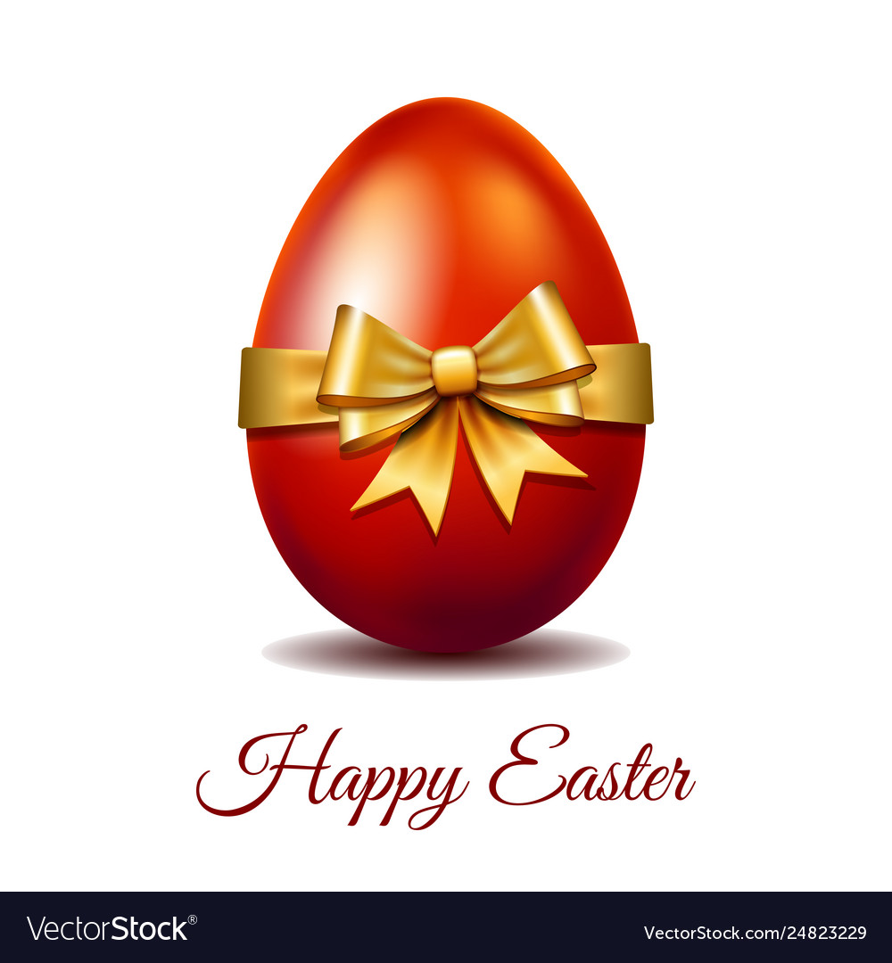 Red easter egg tied gold ribbon