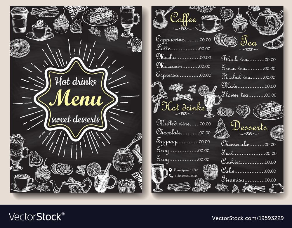 Restaurant chalkboard menu design hand