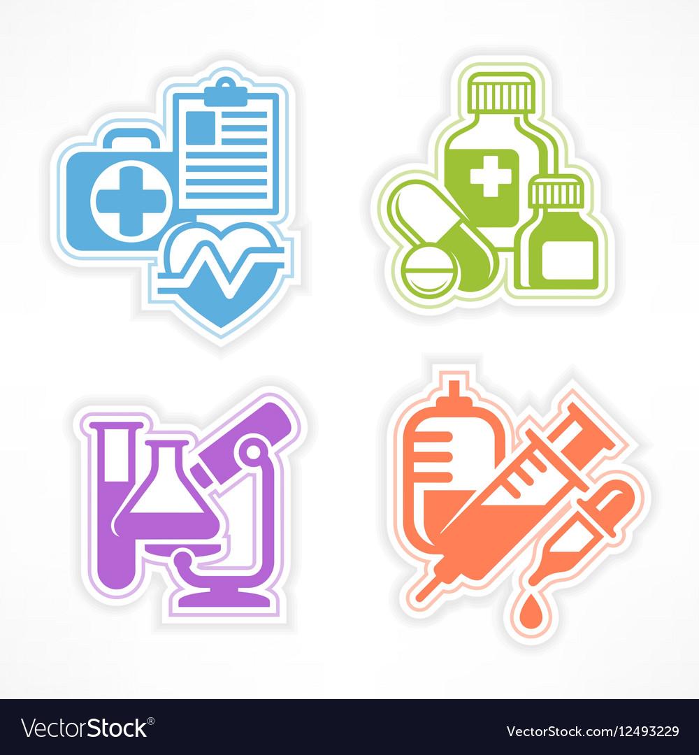 Set of color medicines symbols vector image