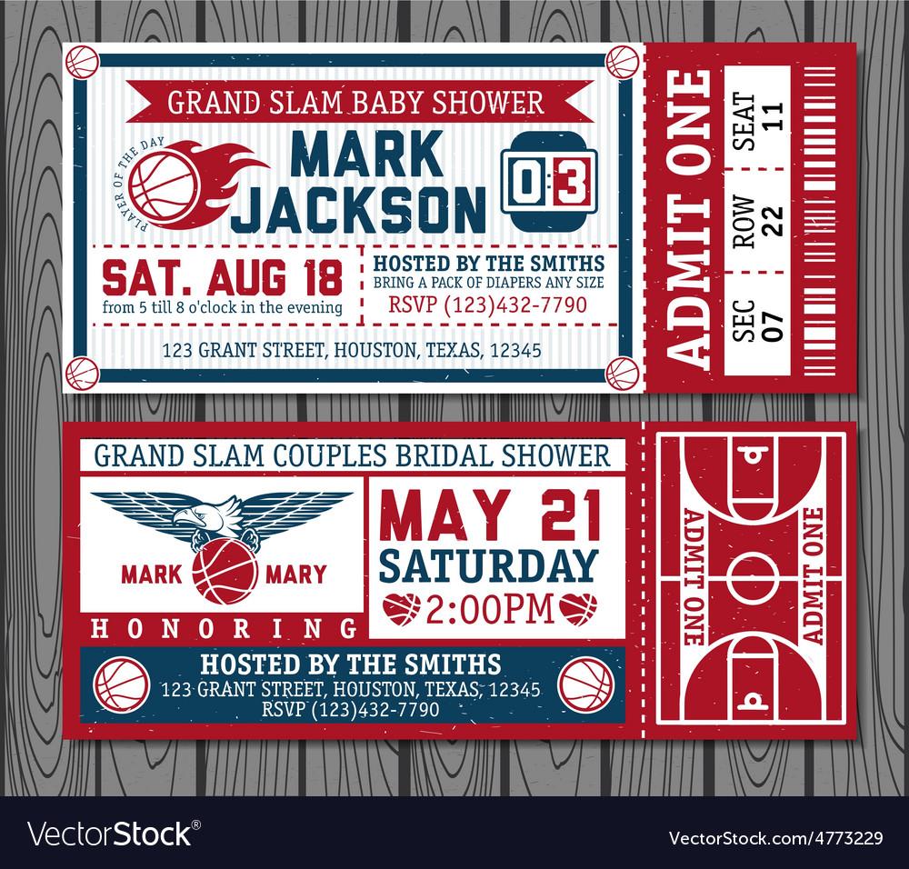 Set vintage basketball tickets