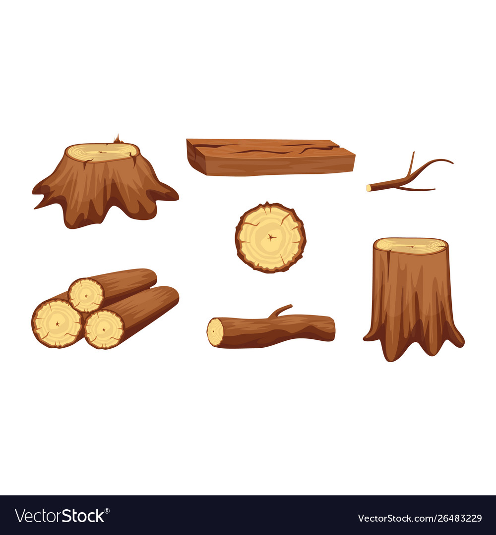 Wooden trunk materials and firewood set