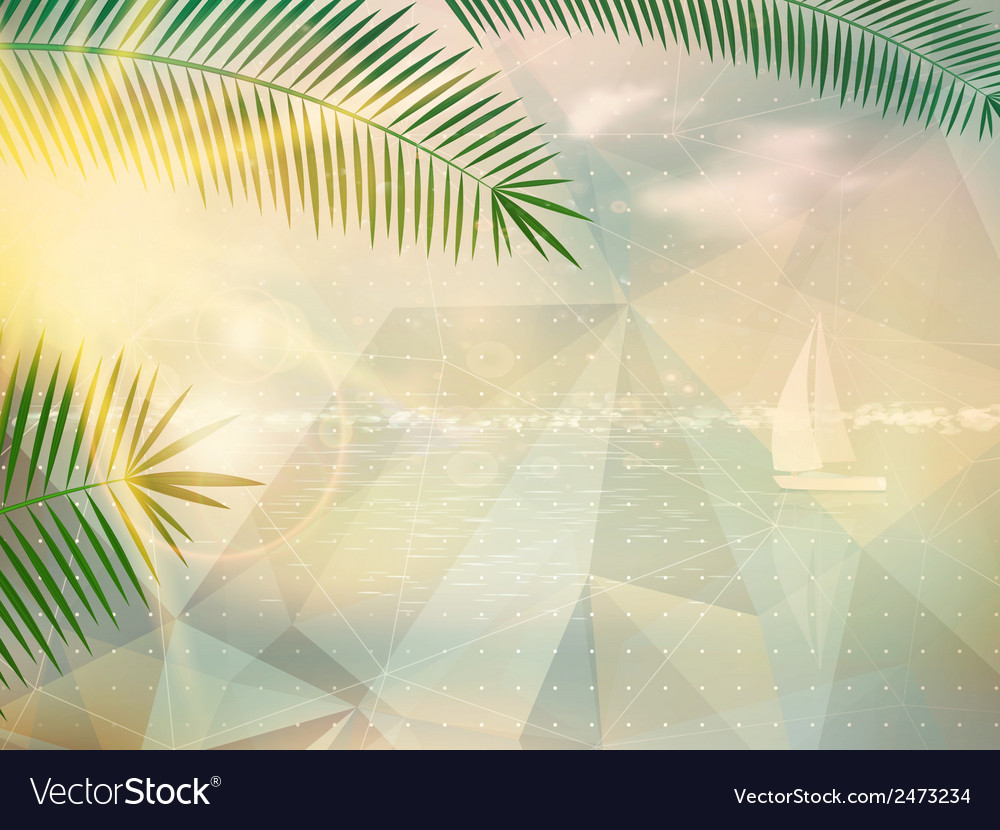 Abstract seaside view poster template