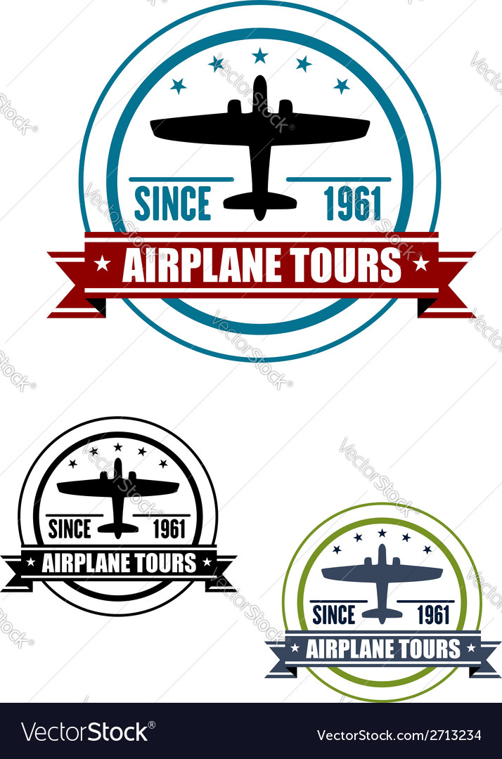 Airplane travel tours icon with plane vector image