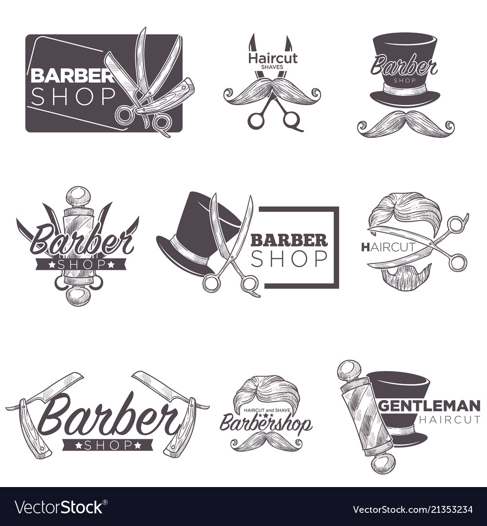 Barber shop mustache beard retro sketch