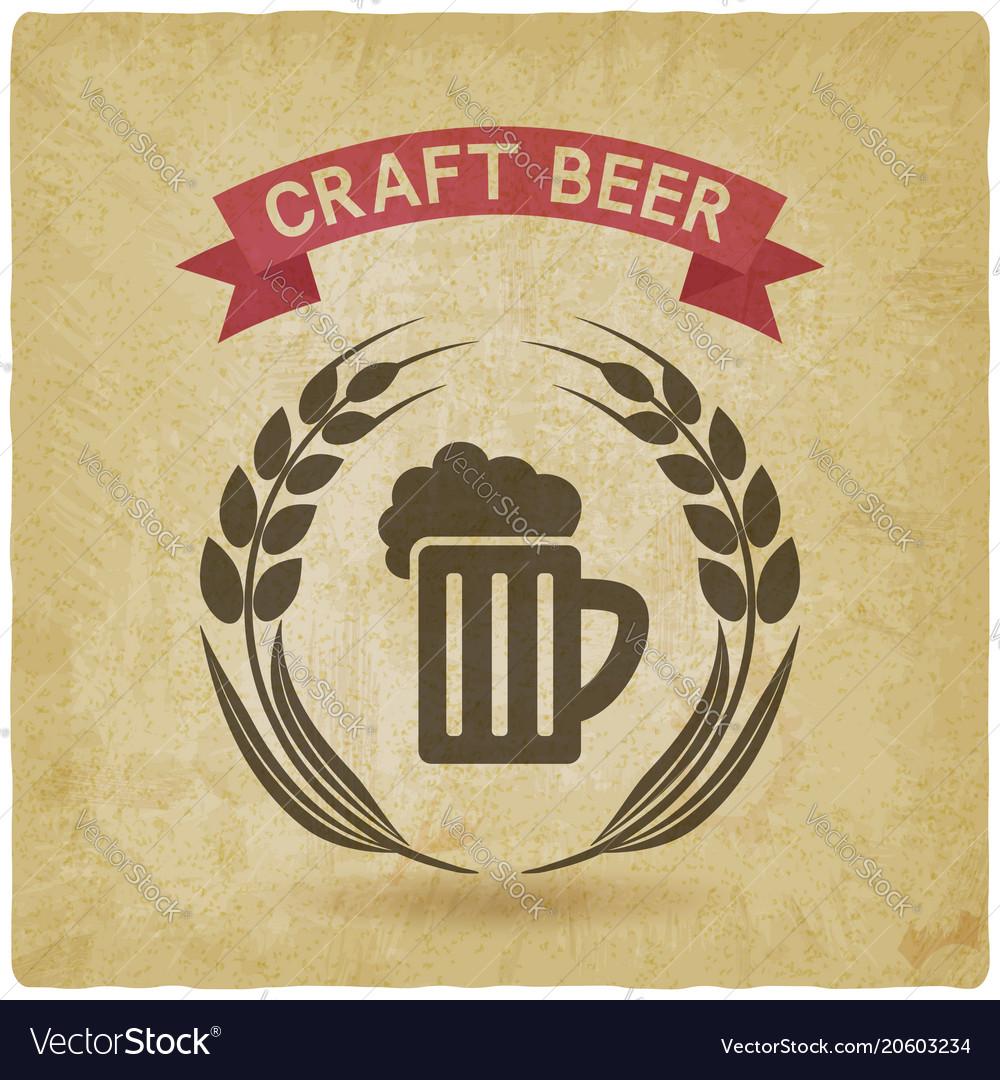 Craft beer banner mug of beer and ears of barley