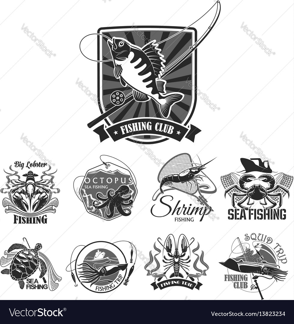 Fishing sport club icons set