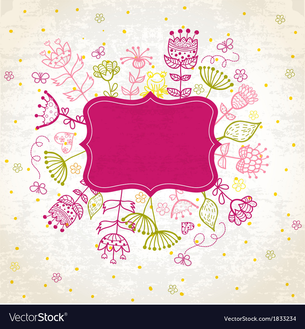 Floral Frame cute retro flowers