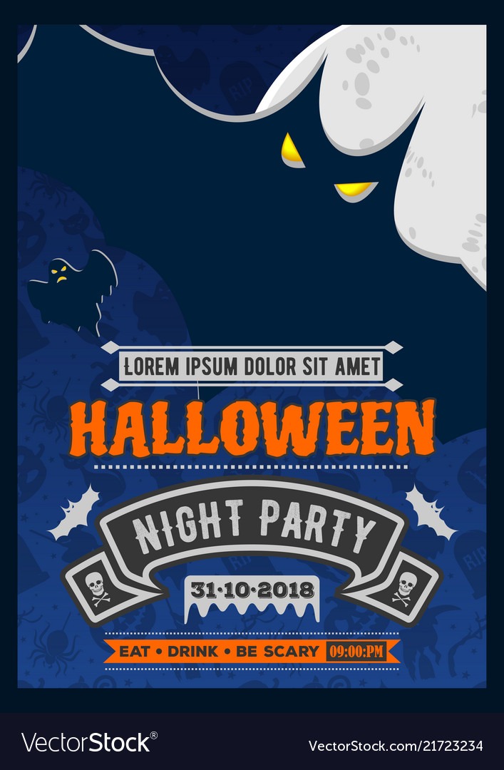 Halloween party invitation with scary flying bat