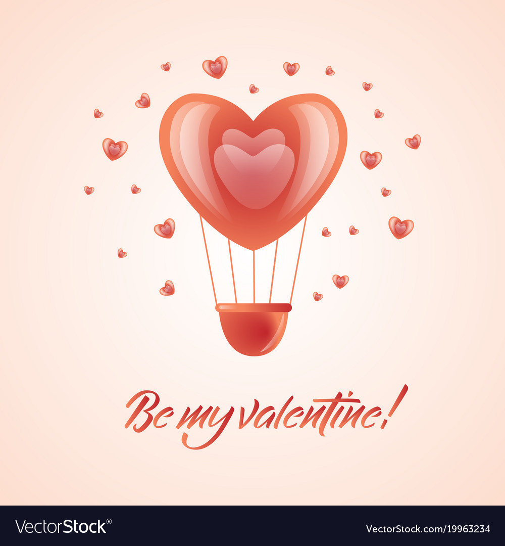 Happy valentines day hot air heart balloon