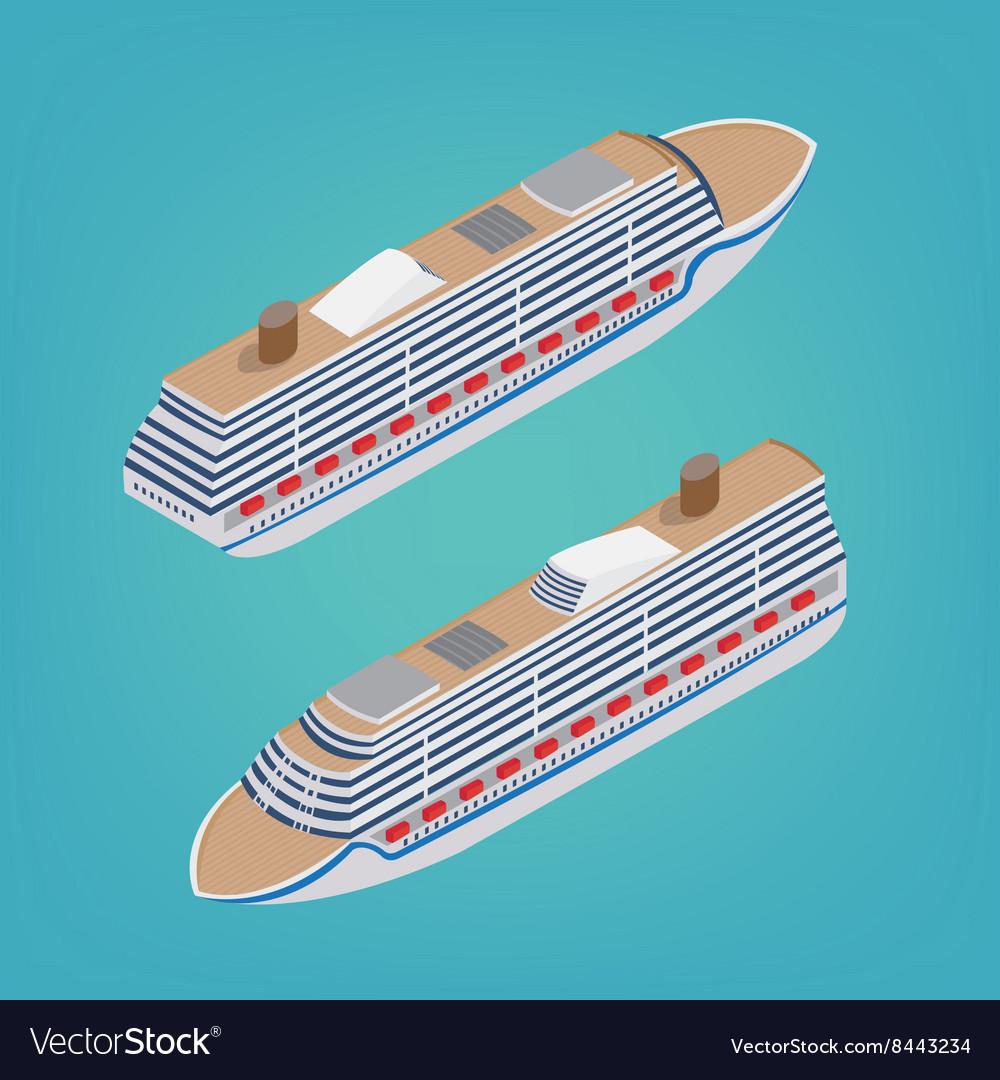 Isometric Passenger Ship Tourism Industry Cruise vector image