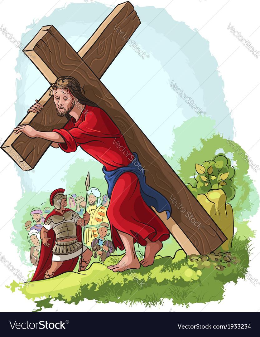 Jesus christ carrying cross christian