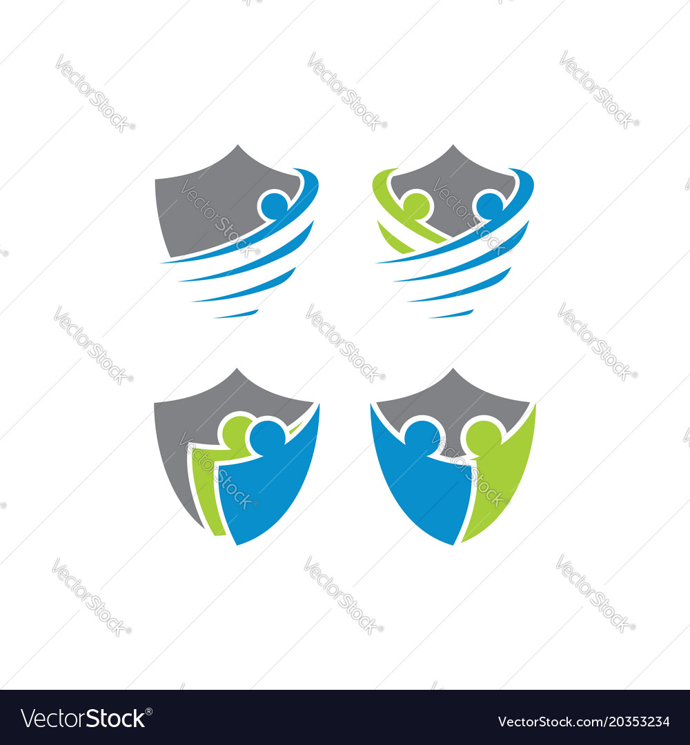 People shield logo template Royalty Free Vector Image