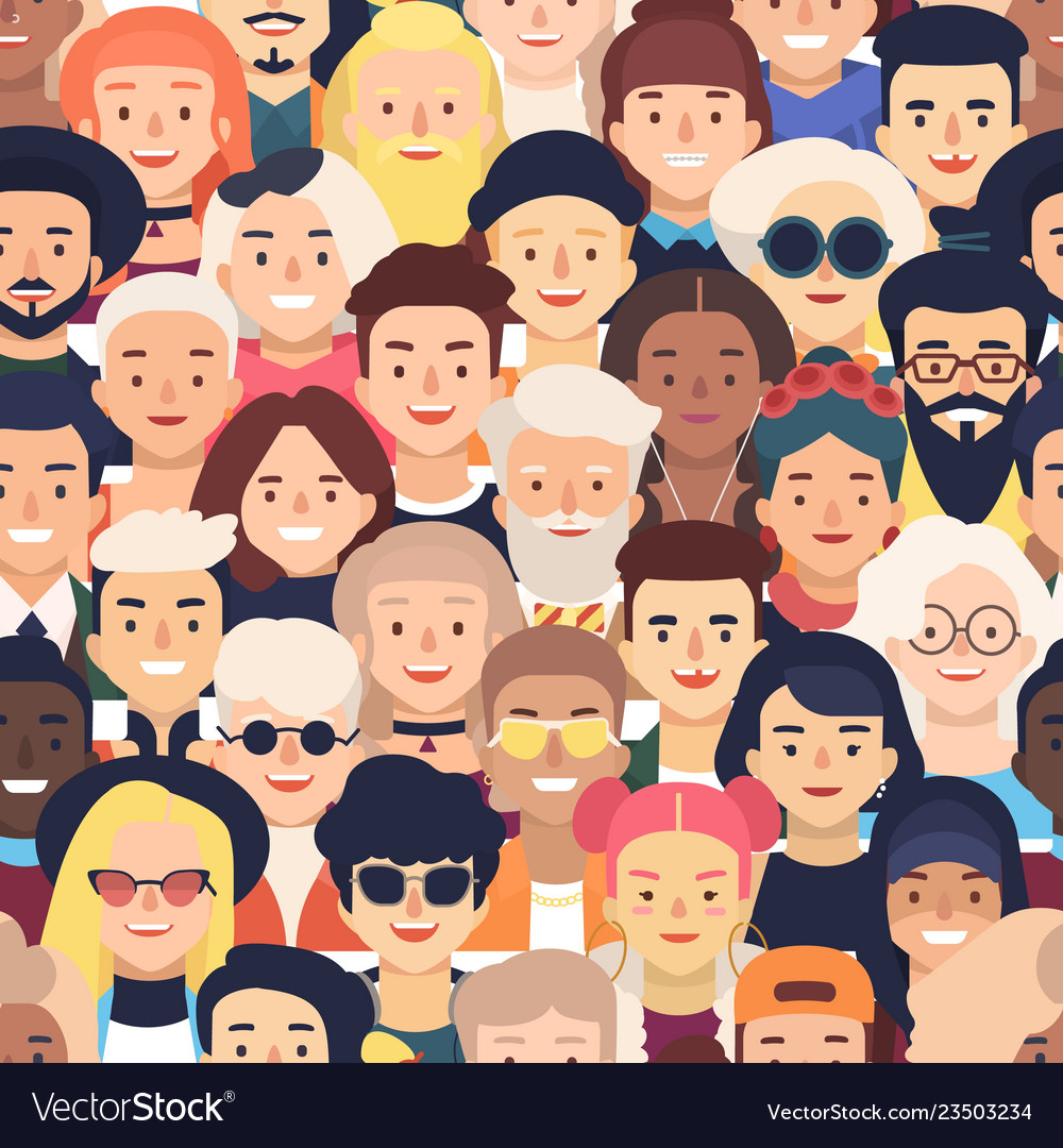 Seamless pattern with faces or heads of joyful