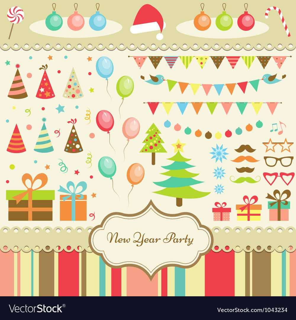 Set of New Year Party Elements vector image