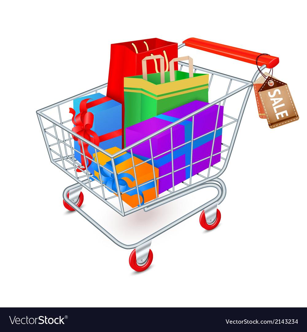 Shopping cart full emblem vector image