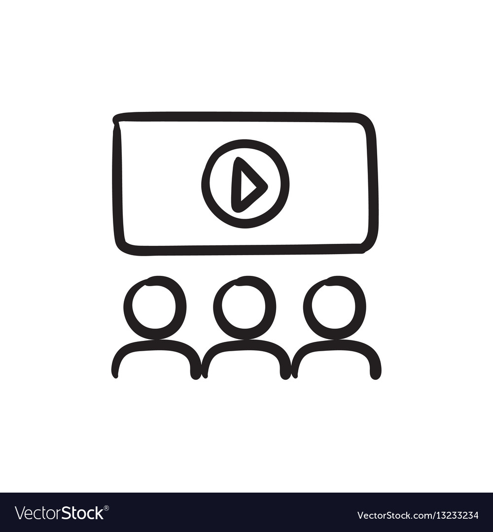 Viewers watching motion picture sketch icon