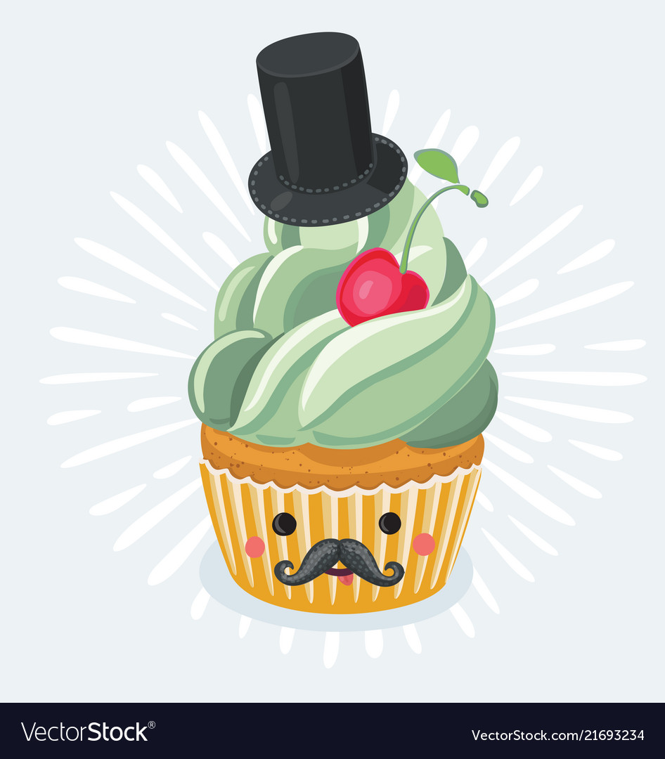 Vintage fathers day cupcake poster design