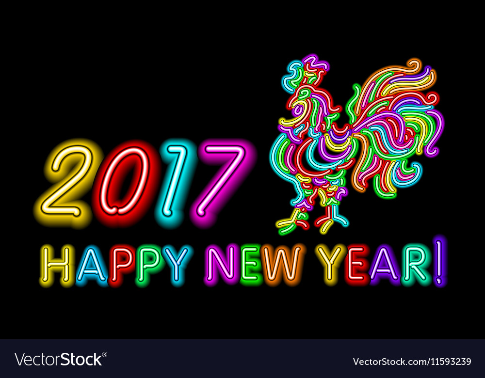 2017 Happy New Year rooster neon color light