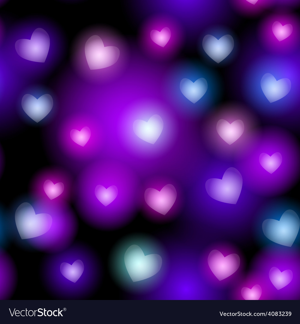 Abstract seamless pattern with neon hearts on