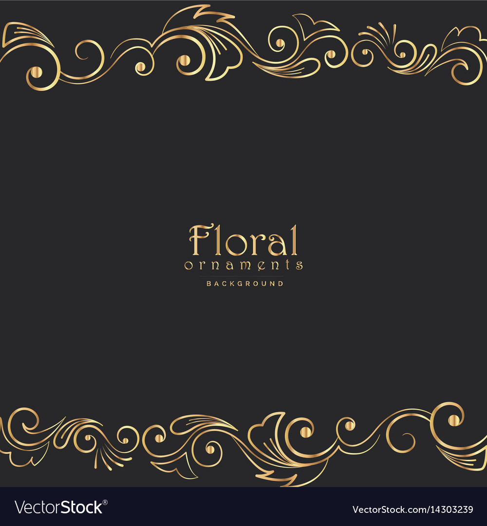 Beautiful golden floral border on black background