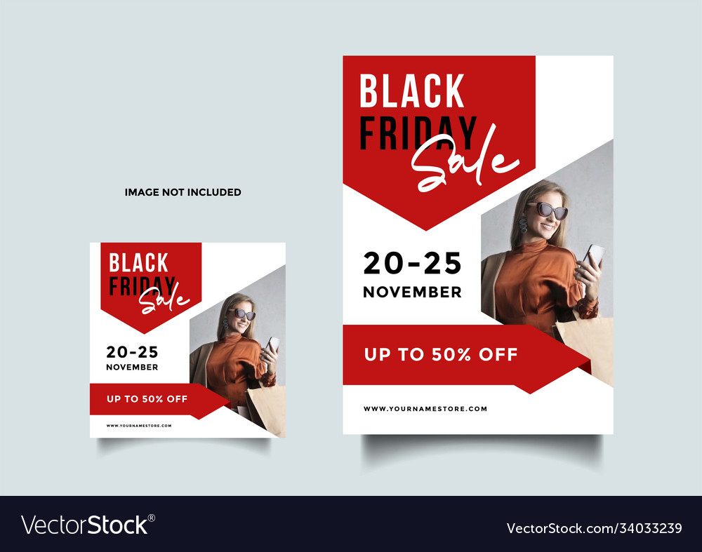Black friday social media and a4 flyer template