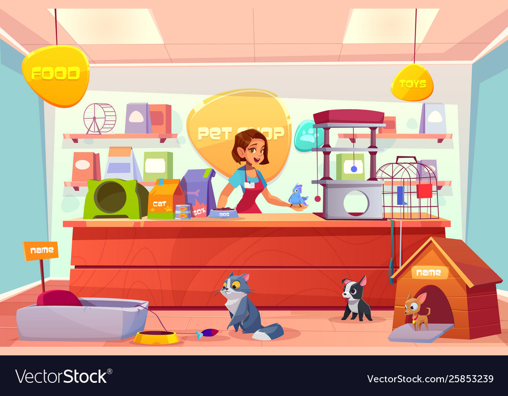 Buying animals in pet store cartoon concept