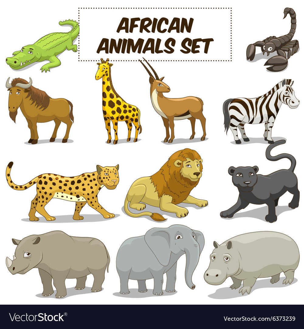 Cartoon african savannah animals set