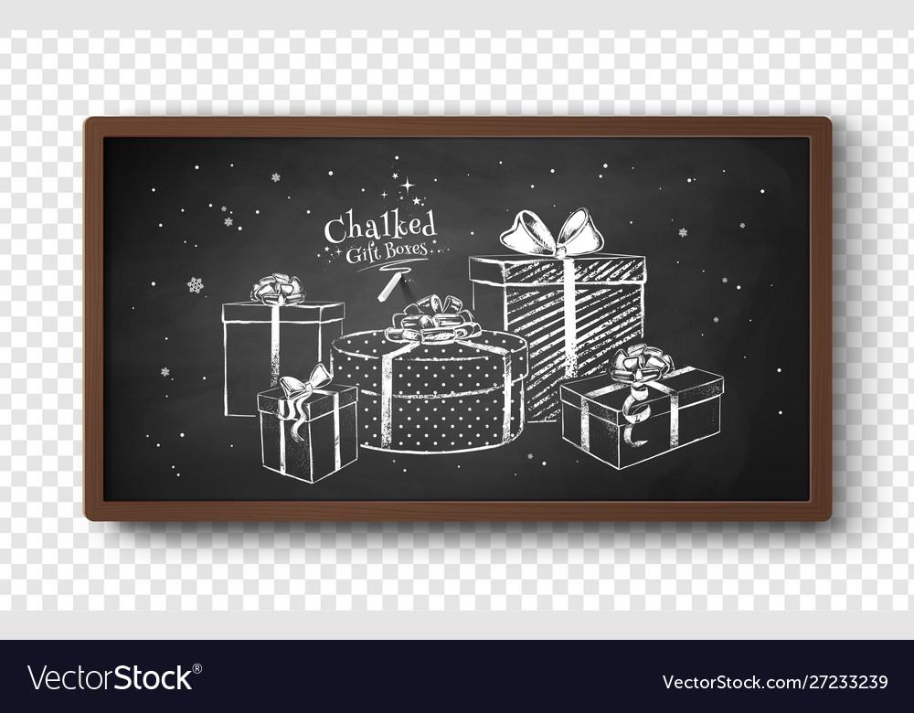 Chalk drawn gift boxes