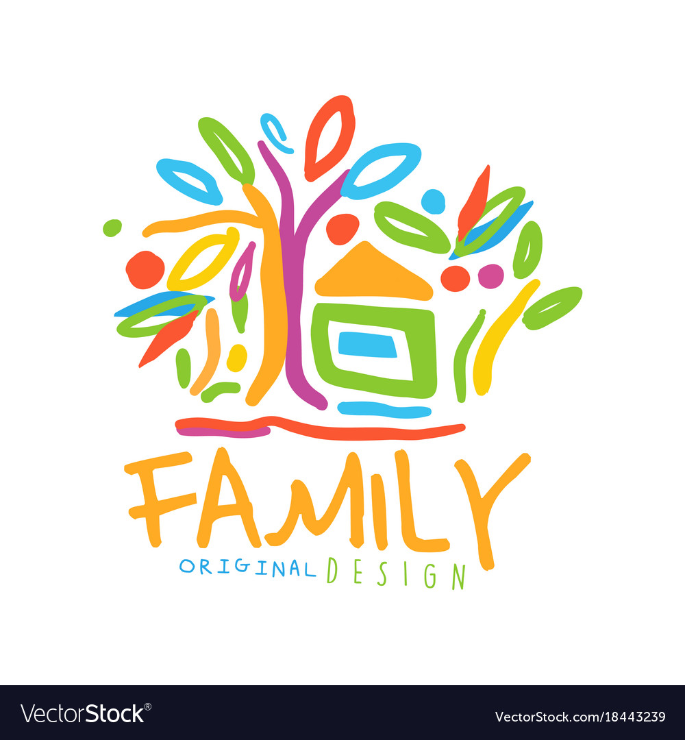 Colorful logo for family business with house and