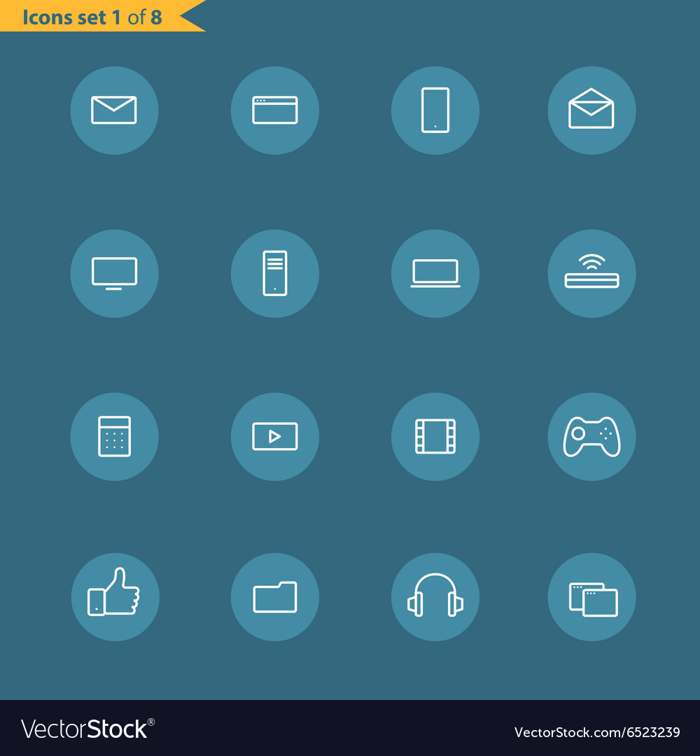 Different line style icons collection vector image