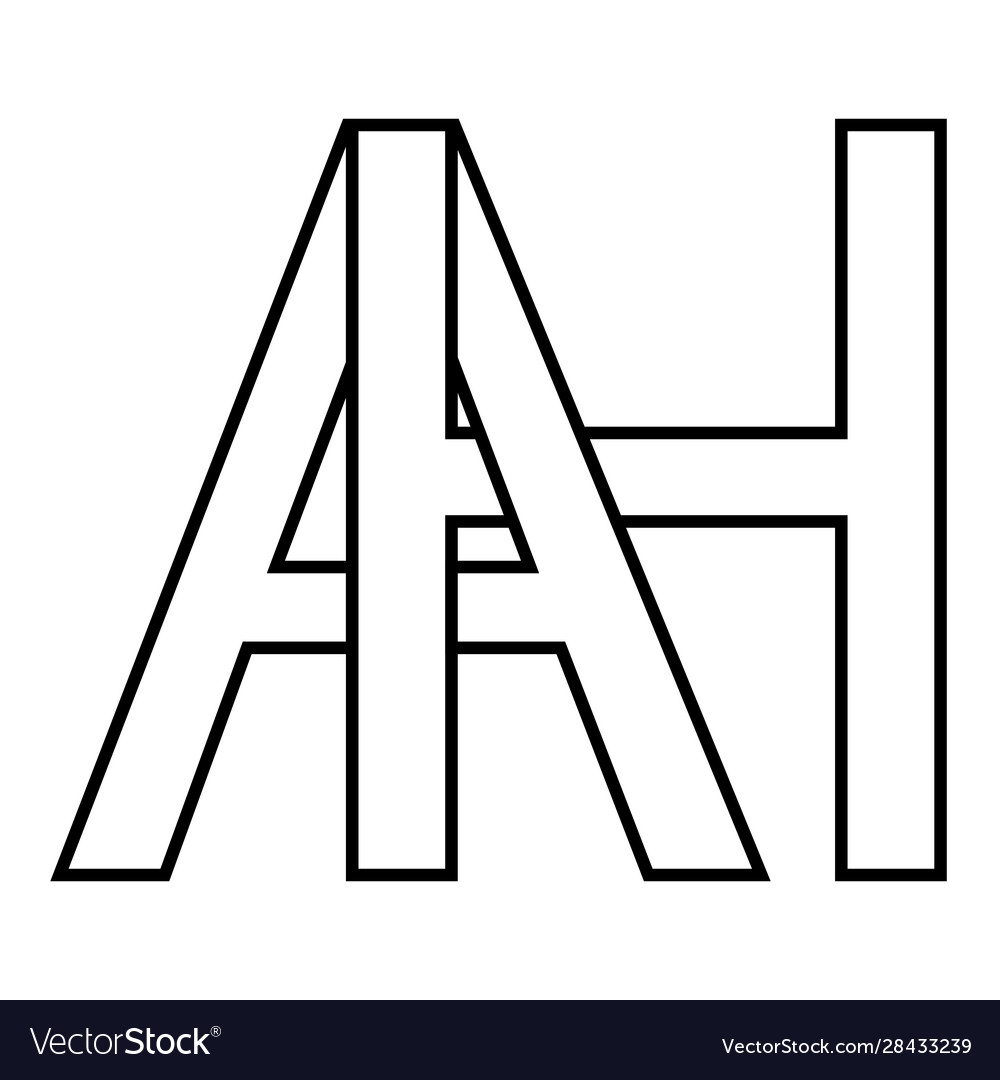 Logo sign ah icon sign two interlaced letters a h