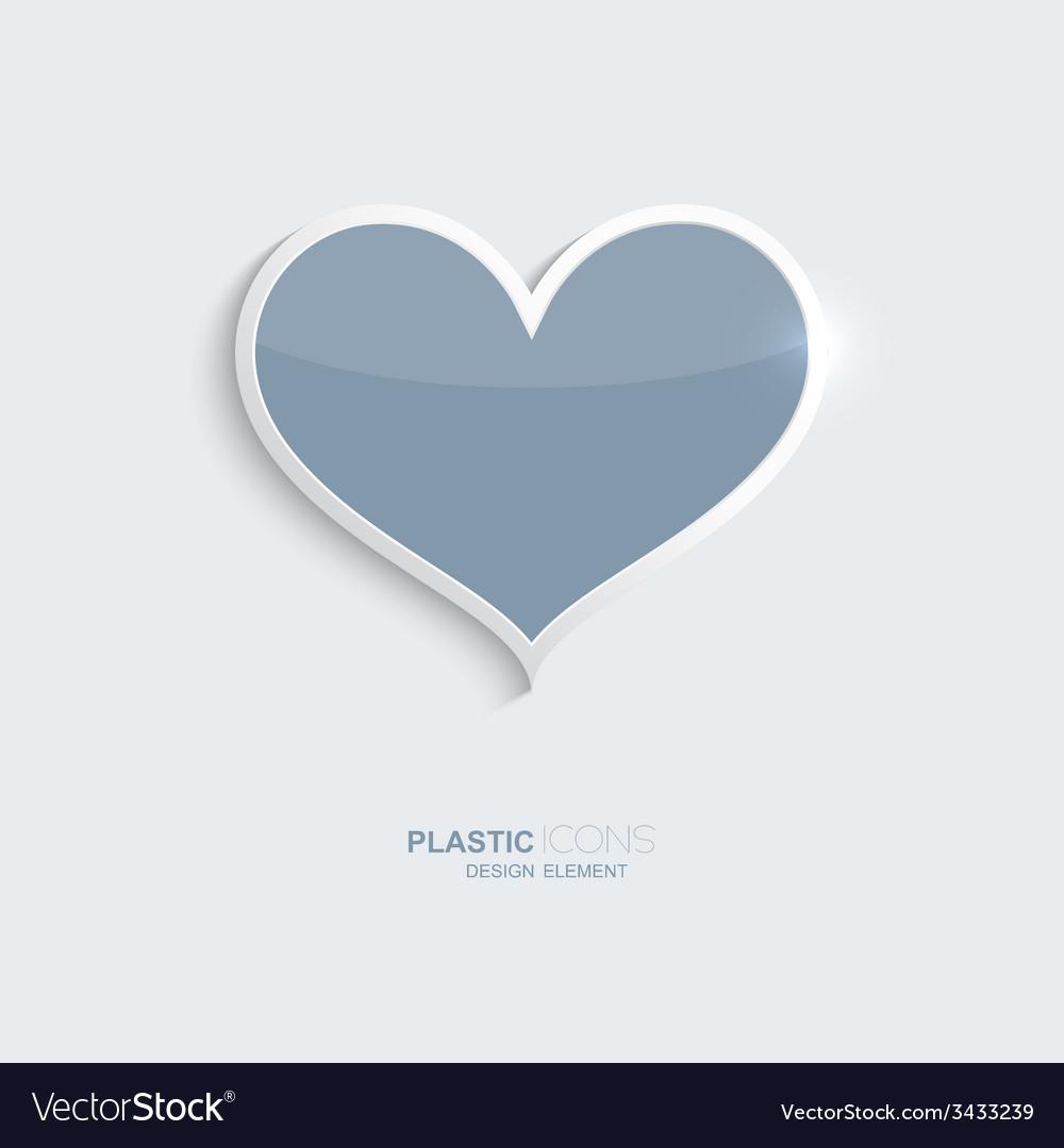 Plastic icon heart symbol vector image