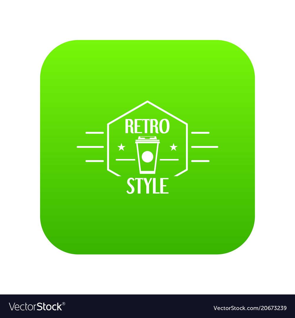 Retro style icon green vector image