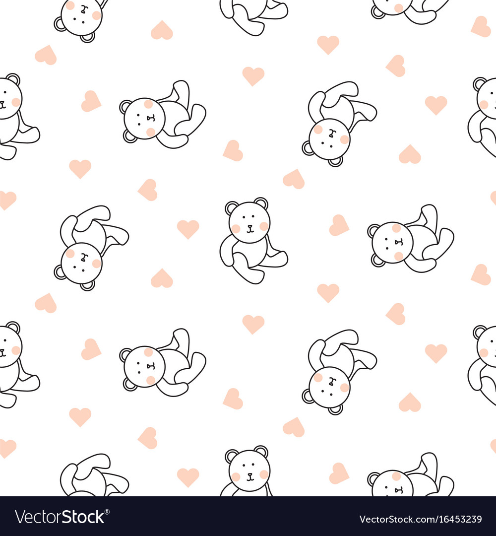 Teddy bear plush seamless pattern