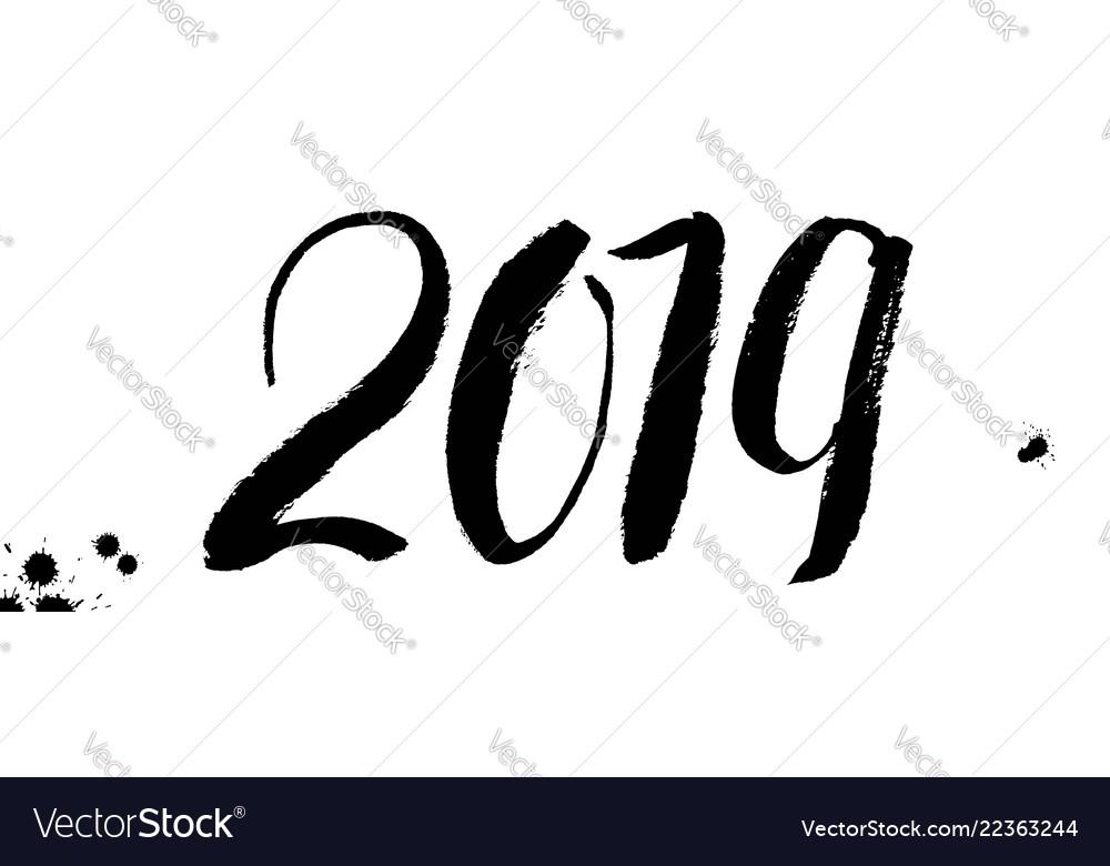 2019 hand written lettering design happy new