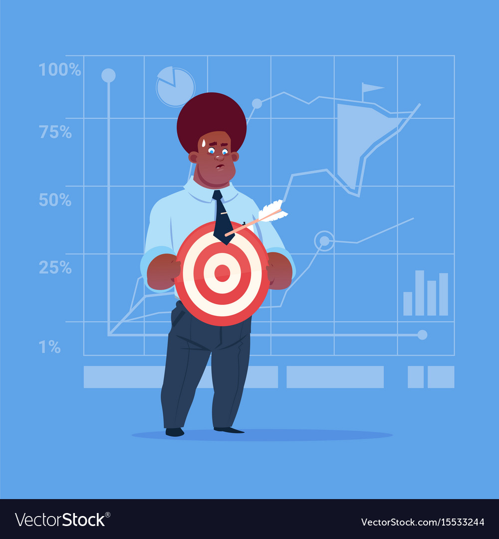 African american business man hold arrow not