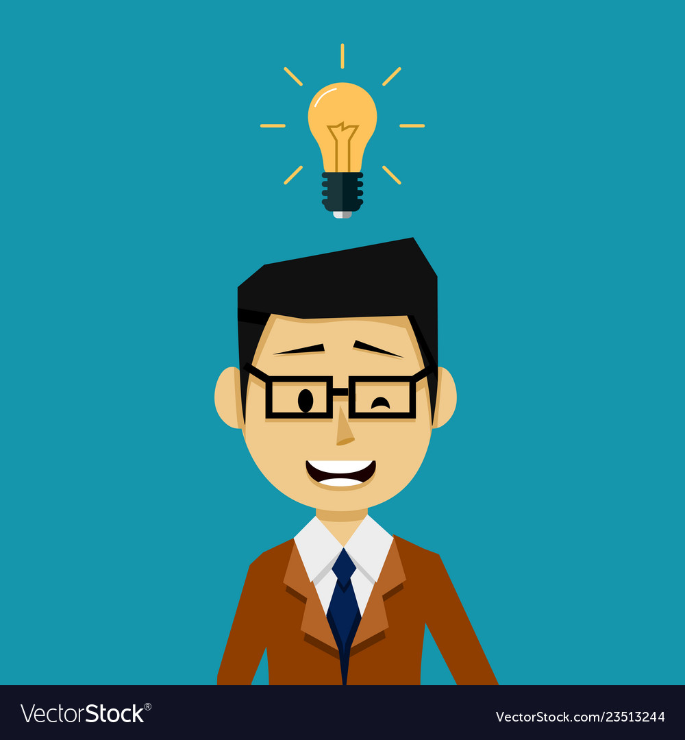 Businessman with an idea light bulb