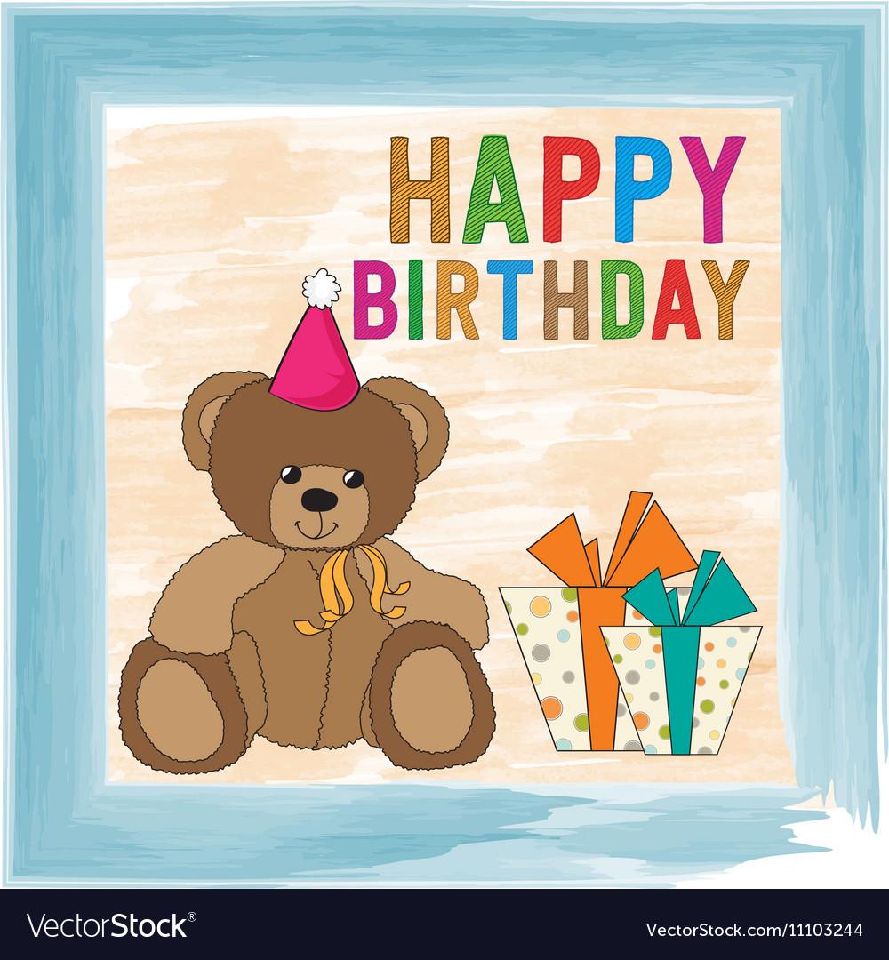 Childish Birthday Card With Teddy Bear Royalty Free Vector