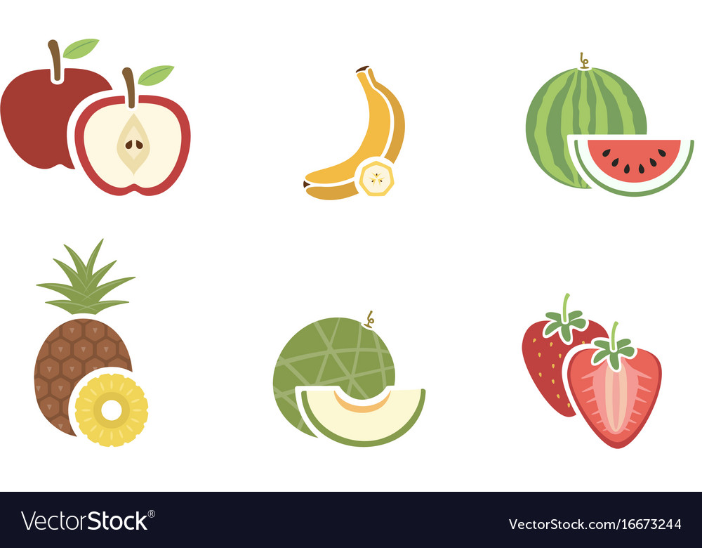 Group of fruits color icon on white background vector image