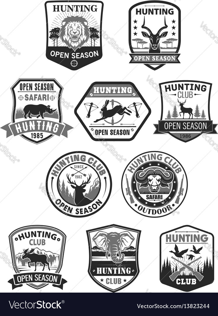 Hunting club or hunt open season icons set