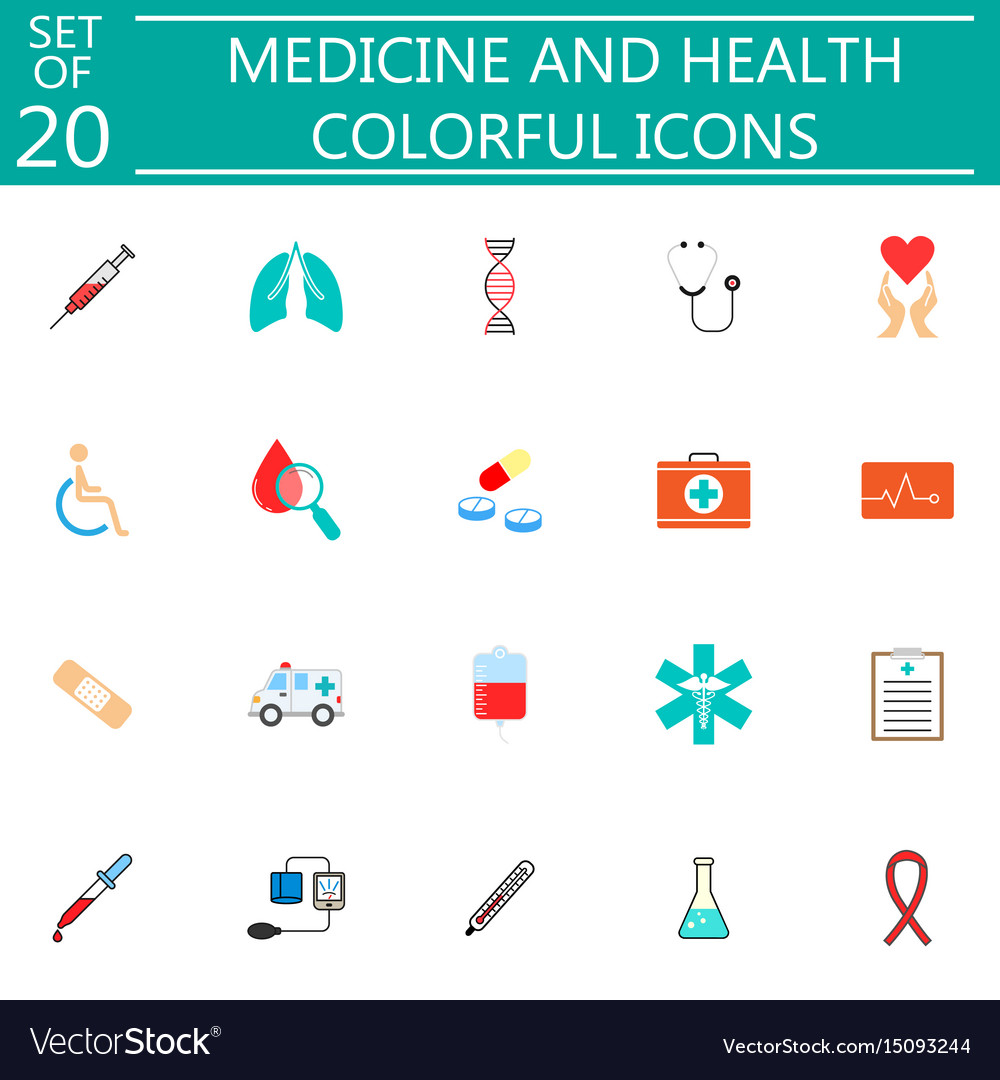 Medicine and health flat icon set medical symbols