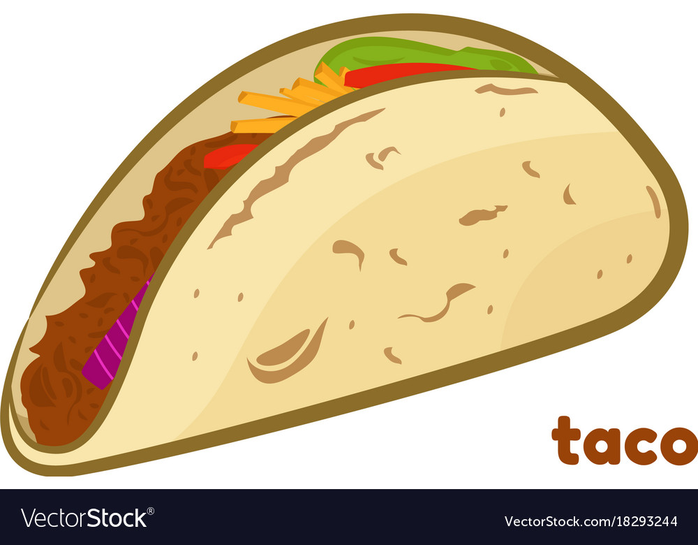 Mexican taco isolated on vector image
