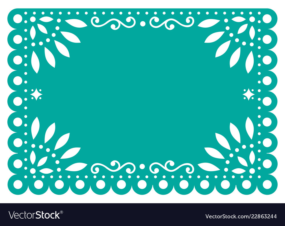 Papel picado template design in turquoise