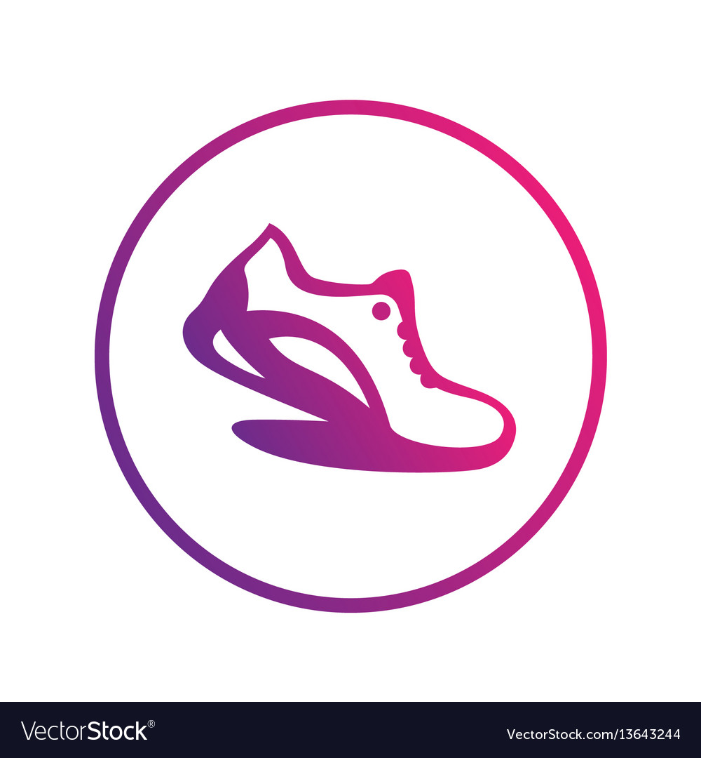 Running icon logo element running shoe in circle