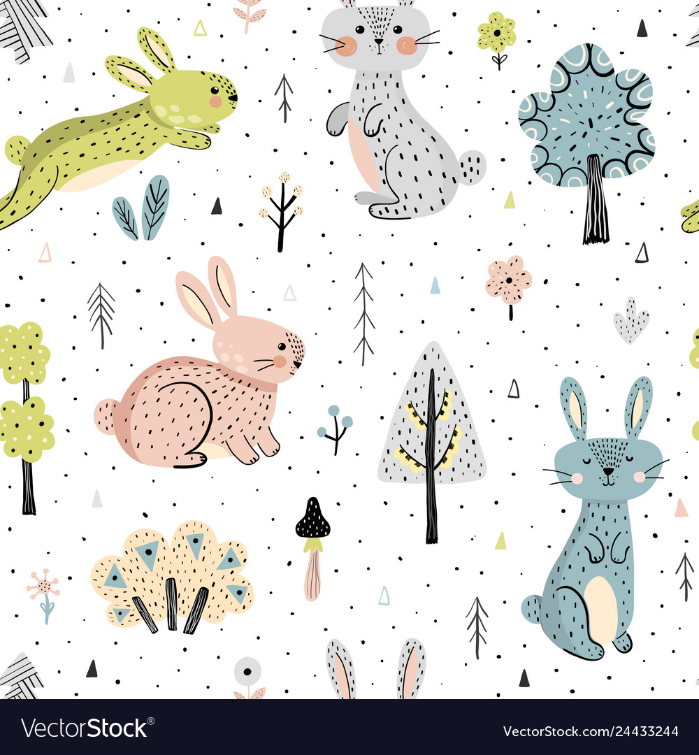 Seamless pattern with bunnies in the forest