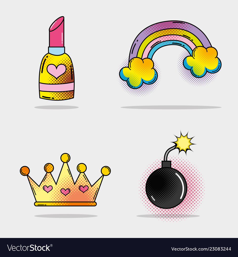 Set lipstick and rainbow with clouds and bomb with
